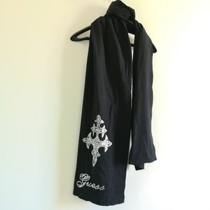GUESS black wrap scarf with logo